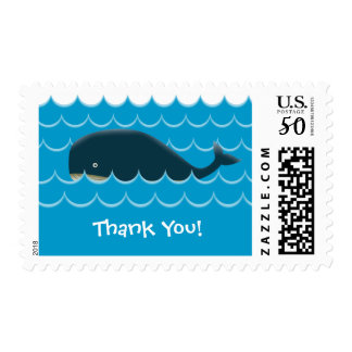 Cute Blue Whale in the Sea Thank You Postage