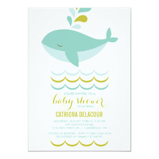CUTE BLUE WHALE IT'S A BOY BABY SHOWER INVITATION