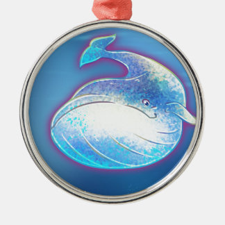 Cute Blue Whale Metal Ornament