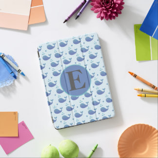 Cute Blue Whale Monogram iPad Pro Cover