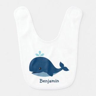 Cute Blue Whale Personalized Bibs