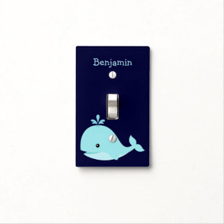 Cute Blue Whale Personalized Nursery Light Switch Cover