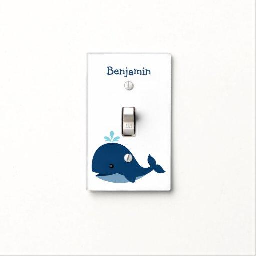 Cute Blue Whale Personalized Nursery Light Switch Plate