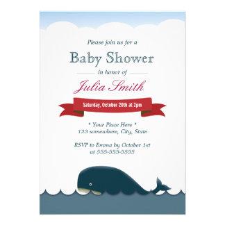 Cute Blue Whale & Sea Baby Shower Invitations
