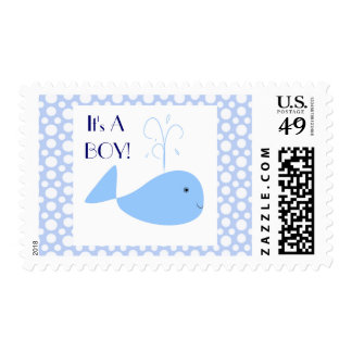 Cute Blue Whale White Polka Dots It's A Baby Boy Postage