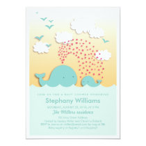 Cute Blue Whales Baby Shower Invite Boy