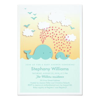 Cute Blue Whales Baby Shower Invite Boy