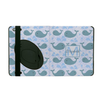 Cute Blue Whales Monogram Pattern iPad Folio Case
