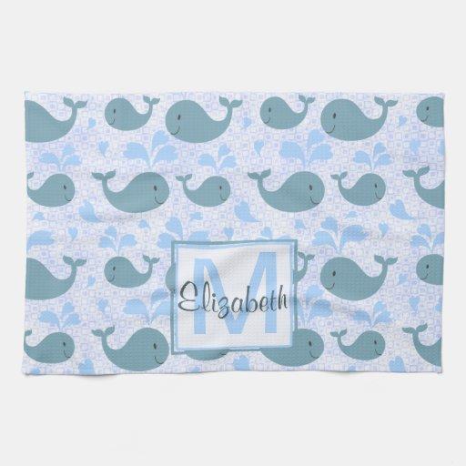 Cute Blue Whales Monogram Pattern Kitchen Towels