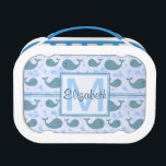 """Cute Blue Whales Monogram Pattern Lunch Box<br><div class=""""desc"""">A pattern with cute light blue whales with a monograph where you can add your initials or just your name. Fully customizable.</div>"""