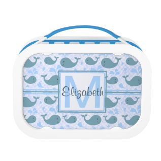 Cute Blue Whales Monogram Pattern Lunch Box at Zazzle