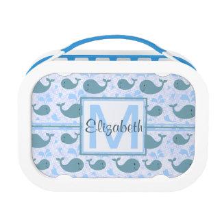 Cute Blue Whales Monogram Pattern Lunch Box