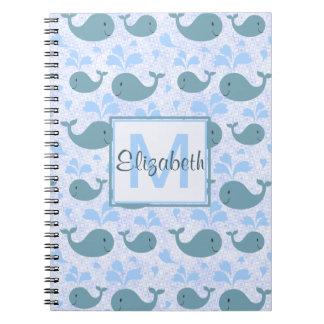 Cute Blue Whales Monogram Pattern Notebook