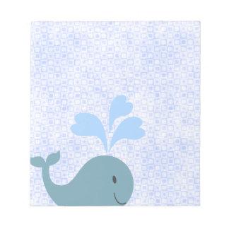 Cute Blue Whales Monogram Pattern Memo Notepads