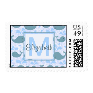 Cute Blue Whales Monogram Pattern Postage