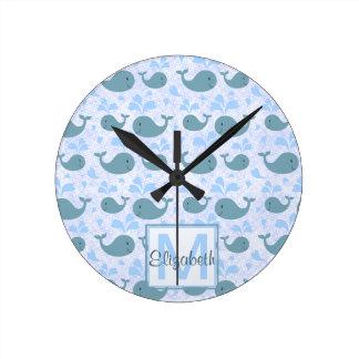 Cute Blue Whales Monogram Pattern Round Clock