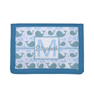 Cute Blue Whales Monogram Pattern Tri-fold Wallet