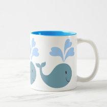 Cute Blue Whales Pattern Graphic Two-Tone Coffee Mug