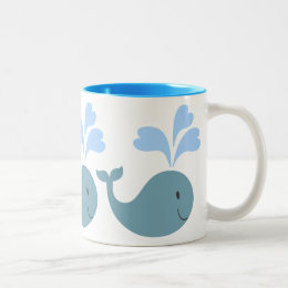 Cute Blue Whales Pattern Graphic Two-Tone Coffee Mug