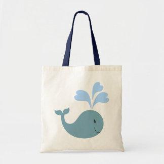 Cute Blue Whales Pattern Monogram Tote Bag