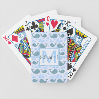 Cute Blue Whales Pattern Monogram Bicycle Playing Cards