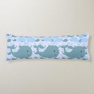 Cute Blue Whales Pattern Monogram Body Pillow