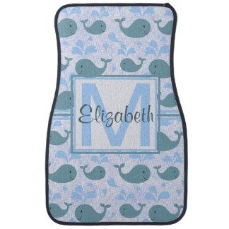 Cute Blue Whales Pattern Monogram Car Floor Mat