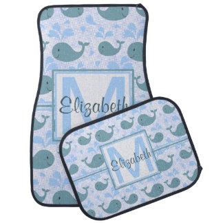 Cute Blue Whales Pattern Monogram Car Mat
