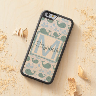 Cute Blue Whales Pattern Monogram Carved Maple iPhone 6 Bumper Case