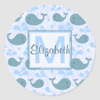Cute Blue Whales Pattern Monogram Classic Round Sticker
