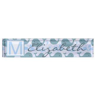 Cute Blue Whales Pattern Monogram Desk Name Plate