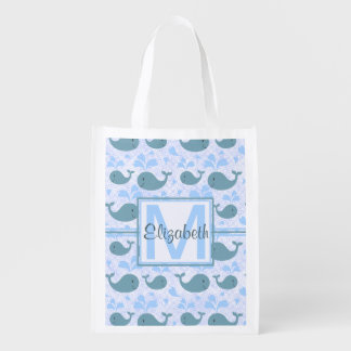 Cute Blue Whales Pattern Monogram Grocery Bag
