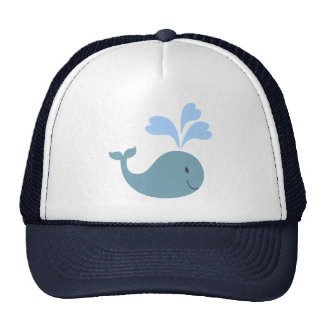 Cute Blue Whales Pattern Monogram Mesh Hats