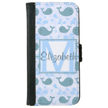Cute Blue Whales Pattern Monogram iPhone 6/6s Wallet Case