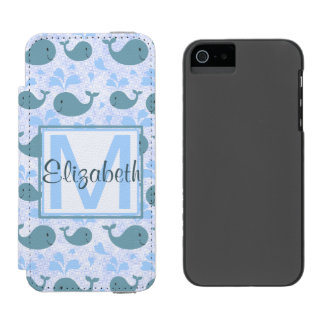 Cute Blue Whales Pattern Monogram iPhone SE/5/5s Wallet Case