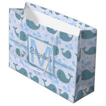 Cute Blue Whales Pattern Monogram Large Gift Bag