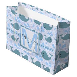 Cute Blue Whales Pattern Monogram Large Gift Bag