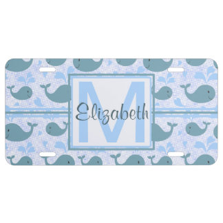 Cute Blue Whales Pattern Monogram License Plate