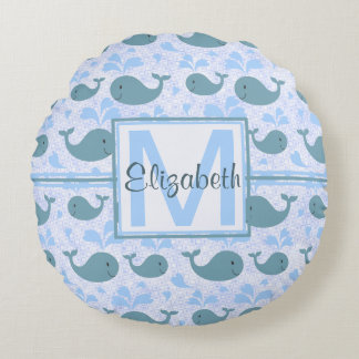 Cute Blue Whales Pattern Monogram Round Pillow