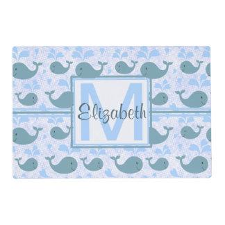 Cute Blue Whales Pattern Monogram Placemat