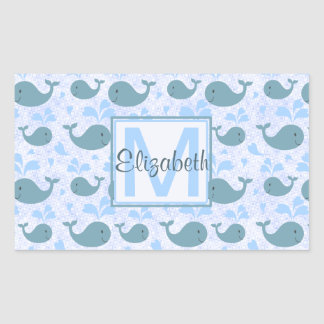 Cute Blue Whales Pattern Monogram Rectangular Sticker