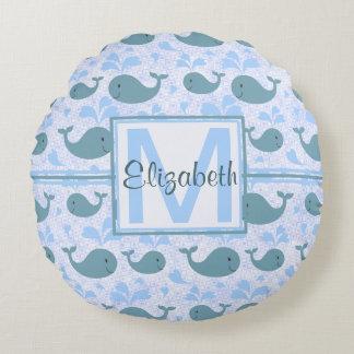 Cute Blue Whales Pattern Monogram Round Pillow
