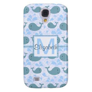 Cute Blue Whales Pattern Monogram Samsung Galaxy S4 Cover