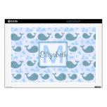 """Cute Blue Whales Pattern Monogram Skins For 17"""" Laptops"""