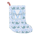 Cute Blue Whales Pattern Monogram Small Christmas Stocking at Zazzle