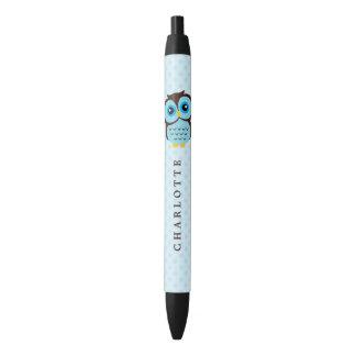 Cute Blue Whimsical Owl Black Ink Pen
