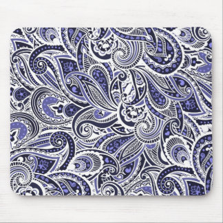 Cute blue white paisley patterns design mouse pad