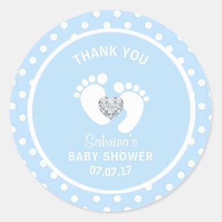 Cute Blue White Polka Dot Feet Boy Baby Shower Classic Round Sticker