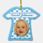 Cute Blue White Polka Dots Baby Boy Ornaments