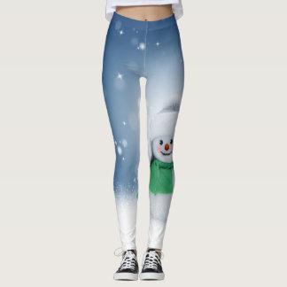 Cute Blue & White Snowman Leggins Leggings